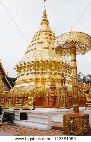 Golden Stupa In Wat Phrathat Temple On Doi Suthep, Chiang Mai, Thailand