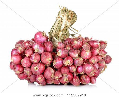 Red Shallot Isolated On The White Background