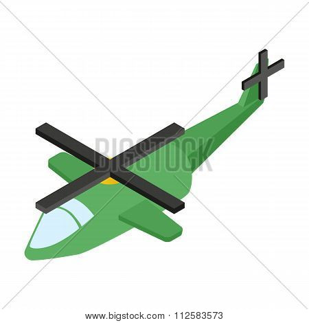 Army helicopter isometric 3d icon