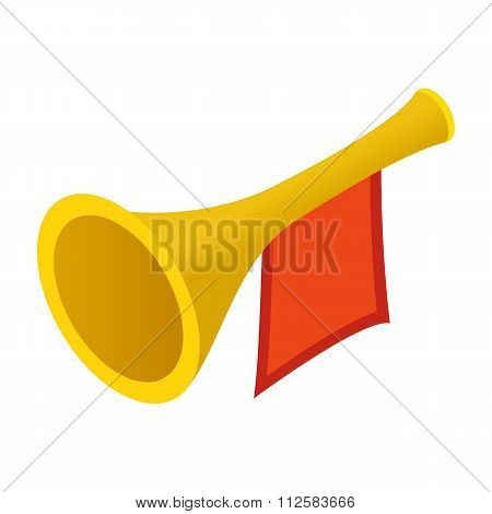 Trumpet with red flag isometric 3d