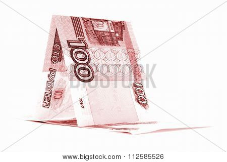 Russian money ruble boat, rouble shack isolated on white background