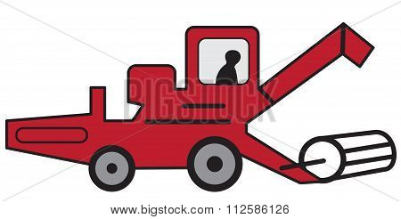 Cartoon Red Combine Harvester