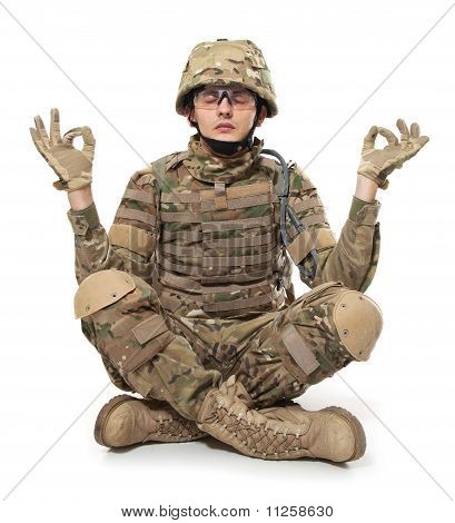 Modern Soldier Meditating