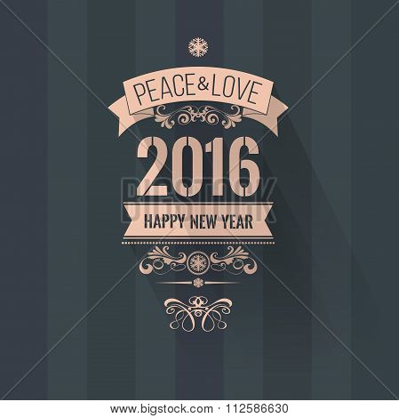 Pale pink white scheme new year greetings badge on dark background