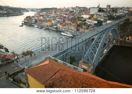 PORTO, PORTUGAL - AUG 11, 2015: Porto city skyline from of Mosteiro da Serra do Pilar, Douro river and Ponte Luis I Bridge. UNESCO recognised Old Town of Porto as a World Heritage Site in 1996.