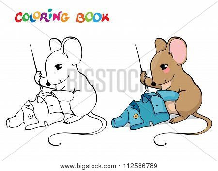 Coloring Book Or Page. Mouse With Sewing A Jacket.