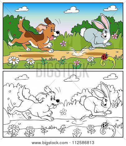 Coloring Book Or Page. Dog In The Meadow Chasing A Hare.