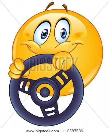 Driving yellow ball holding a steering wheel