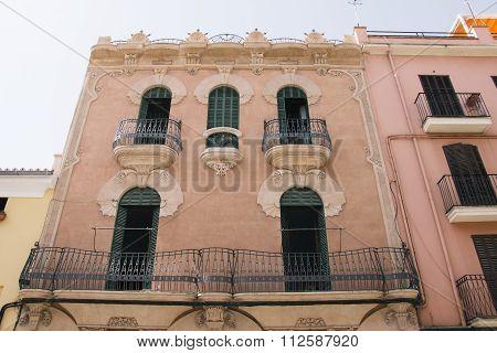 House Front In Santa Catalina, Palma De Mallorca, Spain