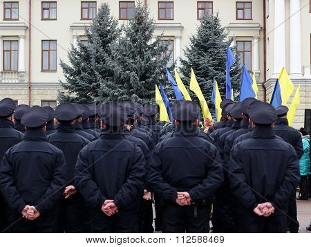 Ceremony Of Taking Oath By The New Patrol Police In Khmelnytskyi, Ukraine