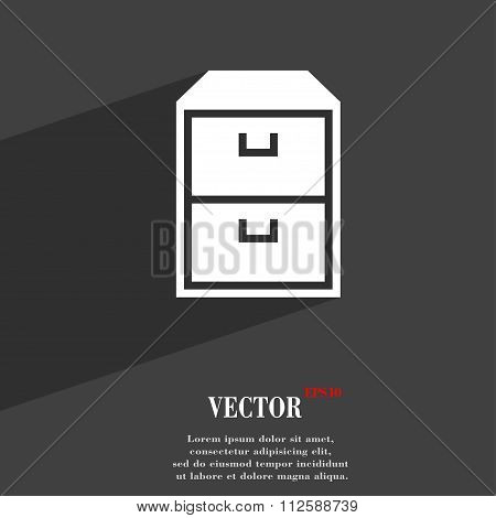 Nightstand Symbol Flat Modern Web Design With Long Shadow And Space For Your Text.