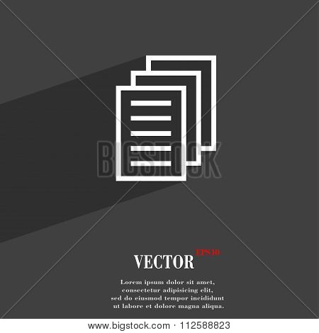 Copy File, Duplicate Document Symbol Flat Modern Web Design With Long Shadow And Space For Your