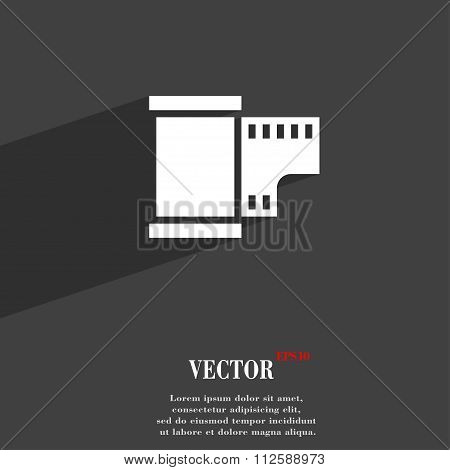 35 Mm Negative Films Symbol Flat Modern Web Design With Long Shadow And Space For Your Text.