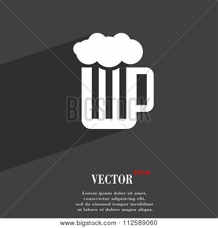 Glass Of Beer With Foam Symbol Flat Modern Web Design With Long Shadow And Space For Your Text.