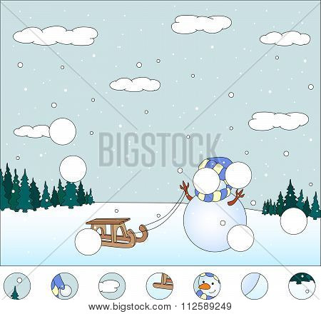 Snowman With Sled In The Winter Forest: Complete The Puzzle And Find The Missing Parts Of The Pictur