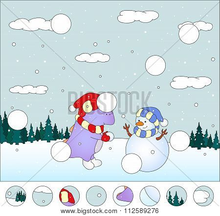 Purple Dragon With Snowman In The Winter Forest: Complete The Puzzle And Find The Missing Parts Of T