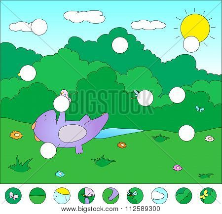 Purple Dragon On A Flower Meadow With Butterfly: Complete The Puzzle And Find The Missing Parts Of T