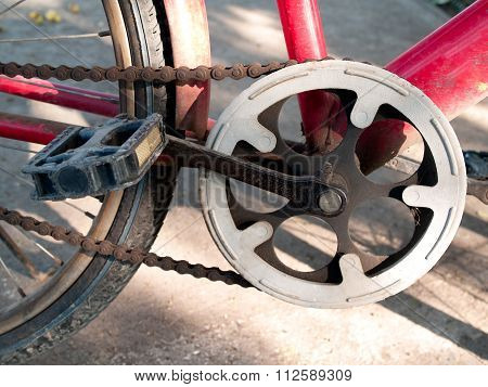Bicycle Wheel ,old Red Bike