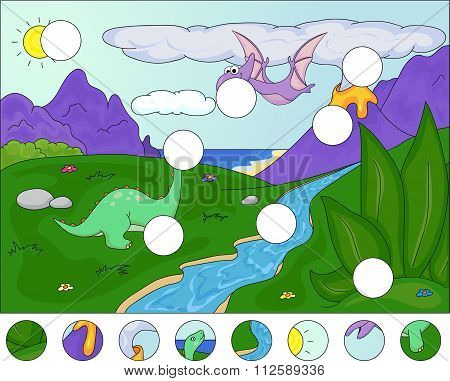 Diplodocus And A Pterodactyl On The Background Of Volcanos: Complete The Puzzle And Find The Missing
