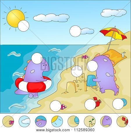 Purple Dragons On The Beach: Complete The Puzzle And Find The Missing Parts Of The Picture. Vector I