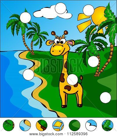 Giraffe And Palm Trees On The Tropical Island: Complete The Puzzle And Find The Missing Parts Of The