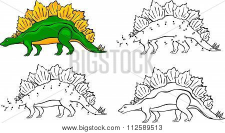 Cartoon Stegosaurus. Vector Illustration. Coloring And Dot To Dot Game For Kids