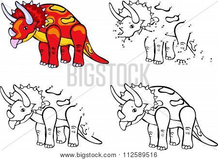 Cartoon Triceratops. Vector Illustration. Coloring And Dot To Dot Game For Kids