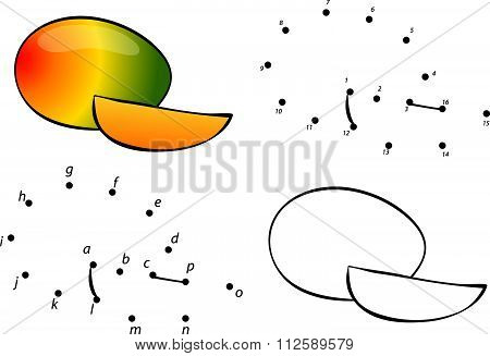 Cartoon Mango. Vector Illustration. Coloring And Dot To Dot Game For Kids