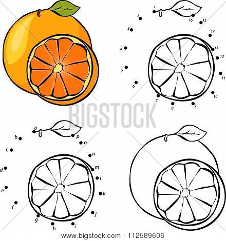 Cartoon Orange. Vector Illustration. Coloring And Dot To Dot Game For Kids