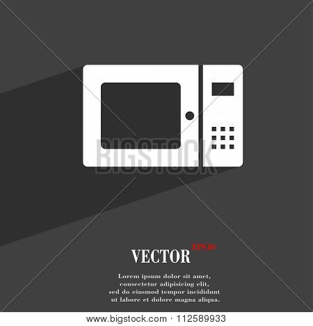 Microwave Symbol Flat Modern Web Design With Long Shadow And Space For Your Text.