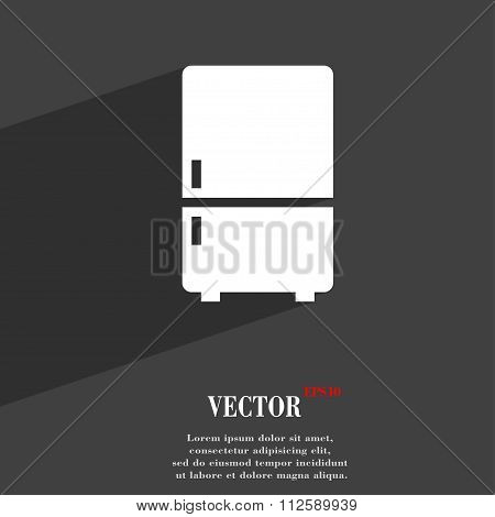 Refrigerator Symbol Flat Modern Web Design With Long Shadow And Space For Your Text.