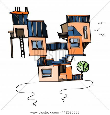 Strange House On White Background. Cartoon Vector Illustration.
