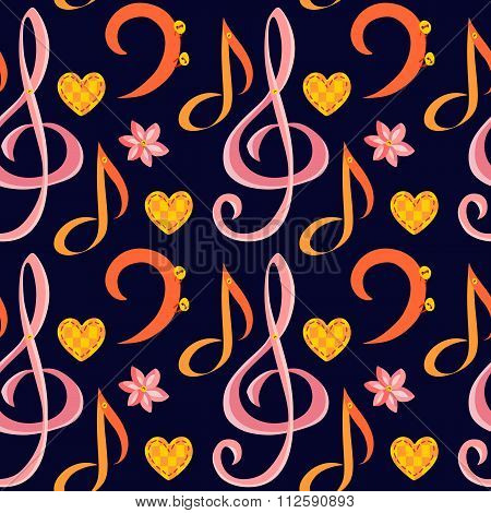 Seamless Music Pattern With Treble Clef, Bass Clef, Note, Flower And Heart. Vector Illustration.