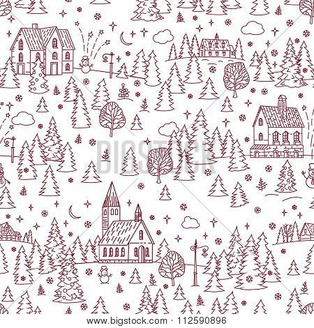 Christmas Landscape Seamless Background