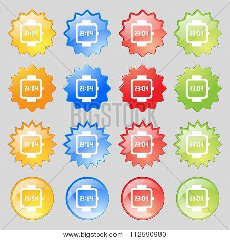 Wristwatch Icon Sign. Big Set Of 16 Colorful Modern Buttons For Your Design.