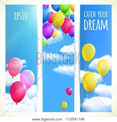Set Of Vertical Banners With Colorful Balloons. Vector Illustration, Editable.