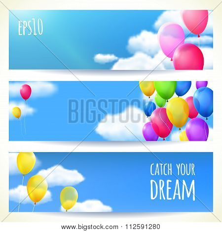 Set Of Horizontal Banners With Colorful Balloons. Vector Illustration, Editable.