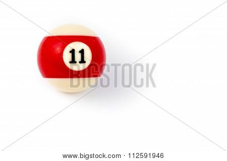Billiard Ball Eleven Isolated On A White Background