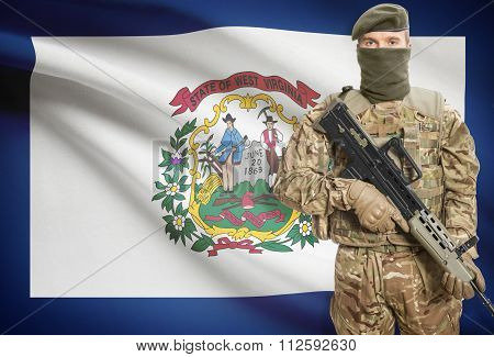 Soldier Holding Machine Gun With Usa State Flag On Background Series - West Virginia