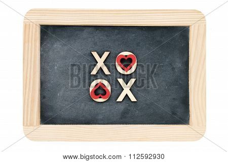 Wooden Frame Vintage Chalkboard Isolated On White With Text Xoxo (kisses & Hugs) Created Of Wood