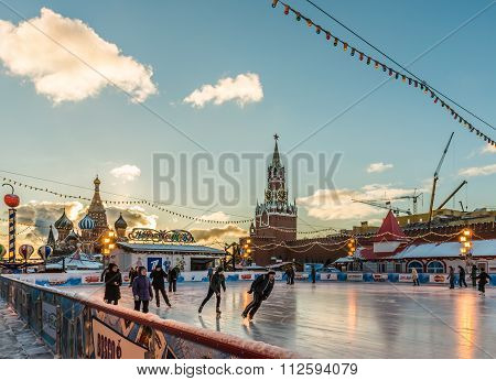 The Gum-skating Rink On Red Square.