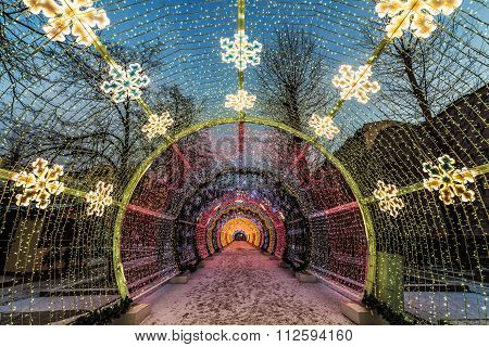 New Year And Christmas Lighting Decoration Of The City. Russia, Moscow, Tverskoy Boulevard.