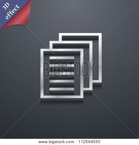 Copy File, Duplicate Document Icon Symbol. 3D Style. Trendy, Modern Design With Space For Your