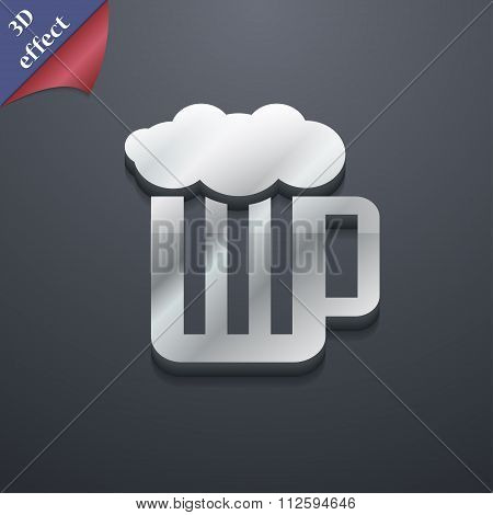 Glass Of Beer With Foam Icon Symbol. 3D Style. Trendy, Modern Design With Space For Your Text