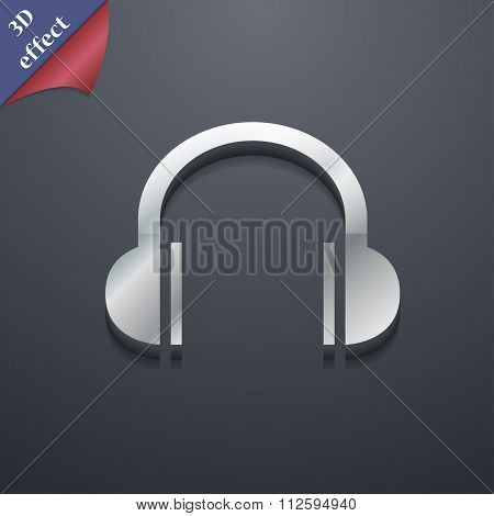 Headphones Icon Symbol. 3D Style. Trendy, Modern Design With Space For Your Text
