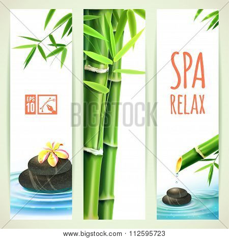 Set Of Vertical Bamboo Banners. Vector Illustration, Eps10, Editable.