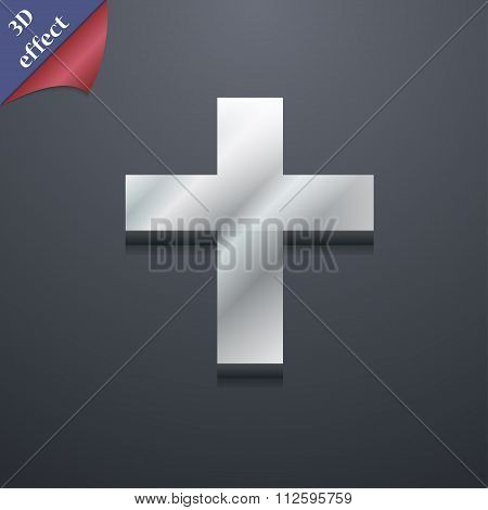 Religious Cross, Christian Icon Symbol. 3D Style. Trendy, Modern Design With Space For Your Text