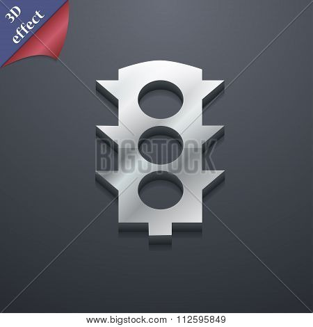 Traffic Light Signal Icon Symbol. 3D Style. Trendy, Modern Design With Space For Your Text