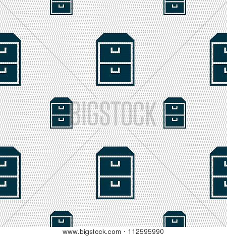 Nightstand Icon Sign. Seamless Pattern With Geometric Texture.