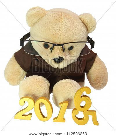 Bear In Glasses To Celebrate The New Year